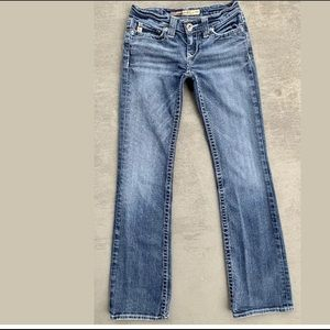 """VTG Big Star""""Remy""""Distressed Low-rise Blue Jeans"""